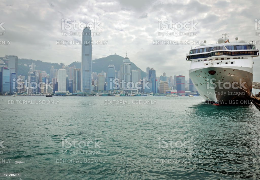 Hong Kong Island and Cruise Ship in Kowloon stock photo