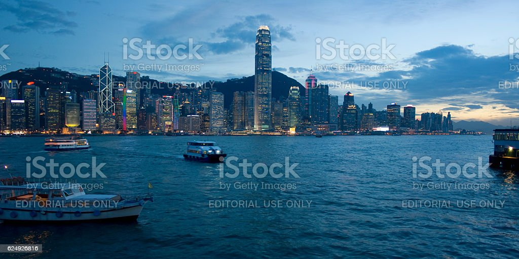Hong Kong Island at twilight stock photo