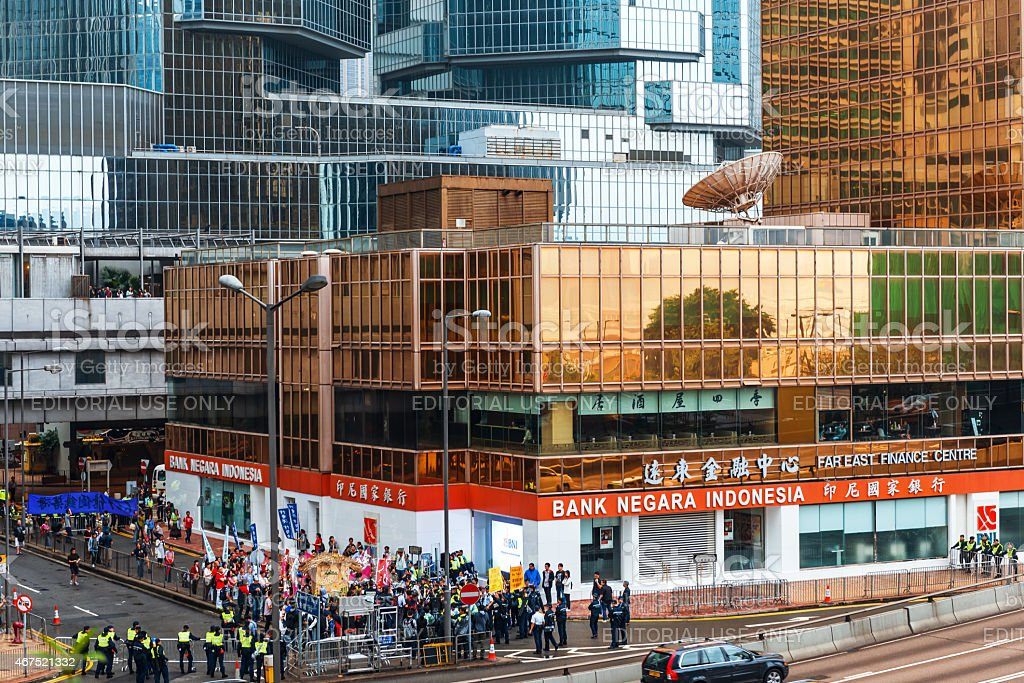 Hong Kong Island Centre, Protesters, Policemen, Skyscrapers, China stock photo
