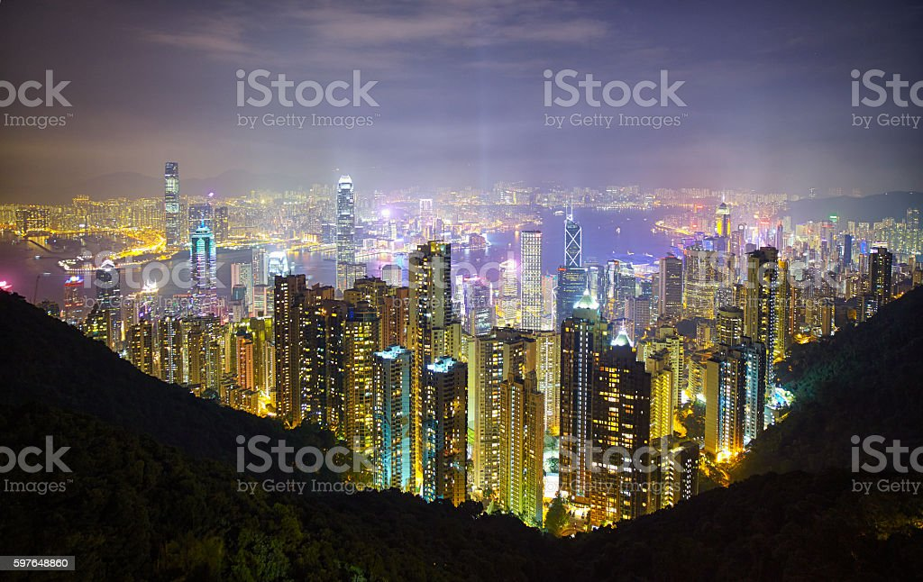 Hong Kong Island From The Peak stock photo