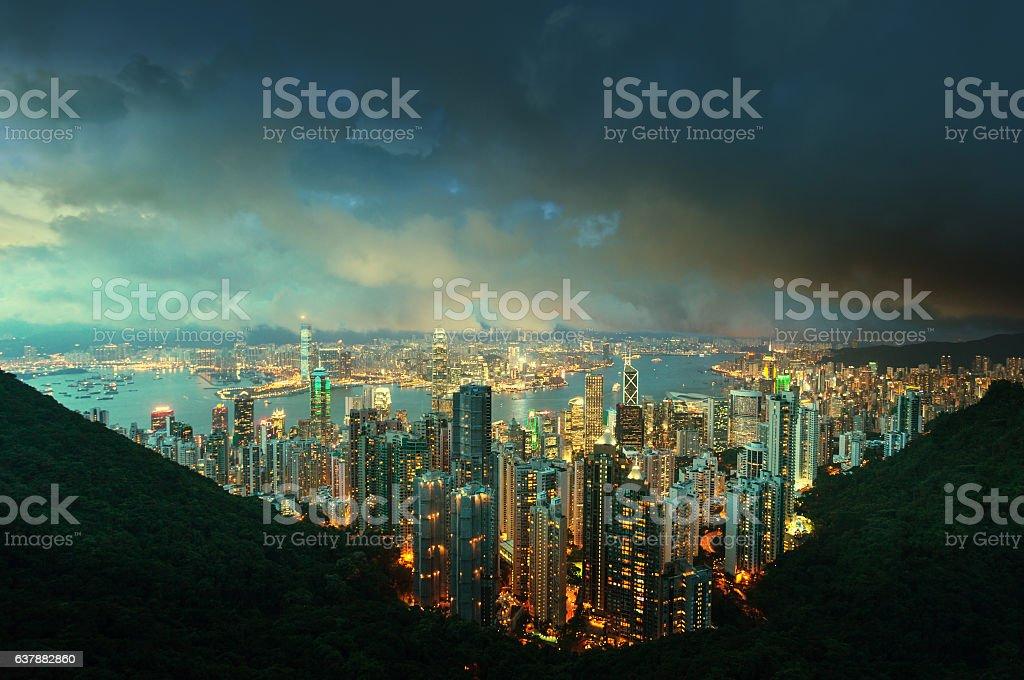 Hong Kong island from Victoria's Peak at night stock photo