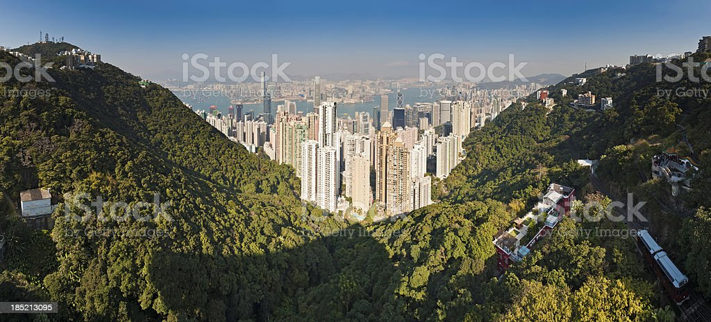 Hong Kong Island harbour skyscapers panorama stock photo