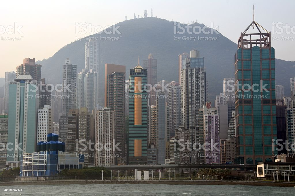 Hong Kong island skyline stock photo
