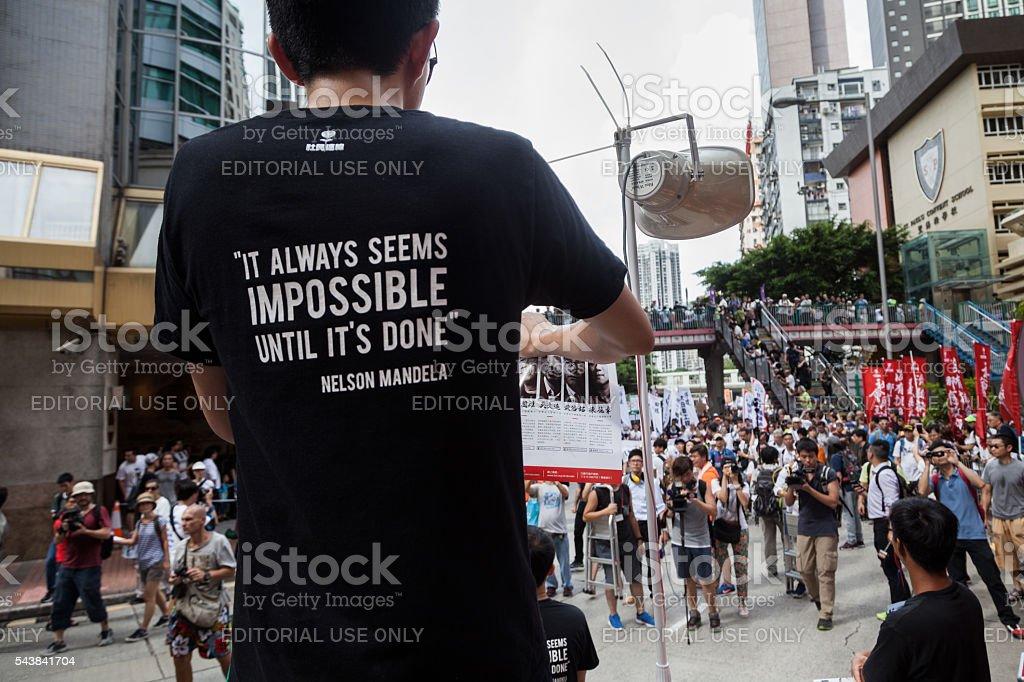 Hong Kong July 1st march stock photo
