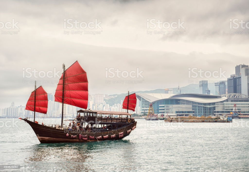 Hong Kong Junk Boat stock photo