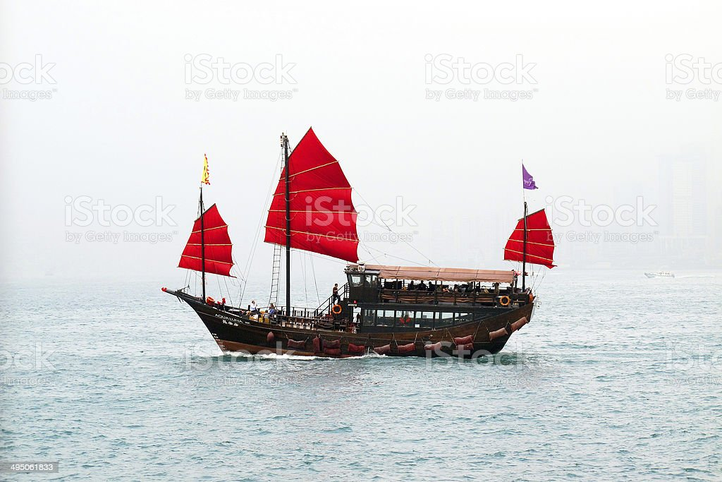 Hong Kong Junk Ship stock photo