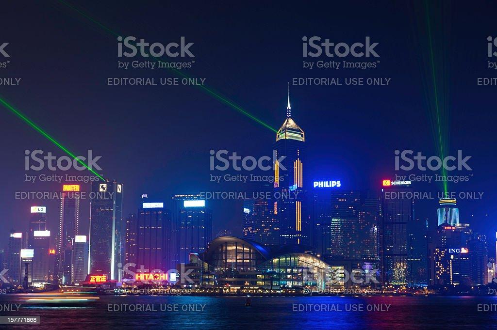 Hong Kong laser light show futuristic neon skyscraper skyline China royalty-free stock photo