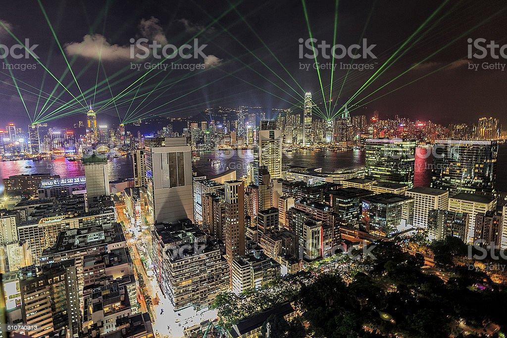 Hong kong lasershow stock photo