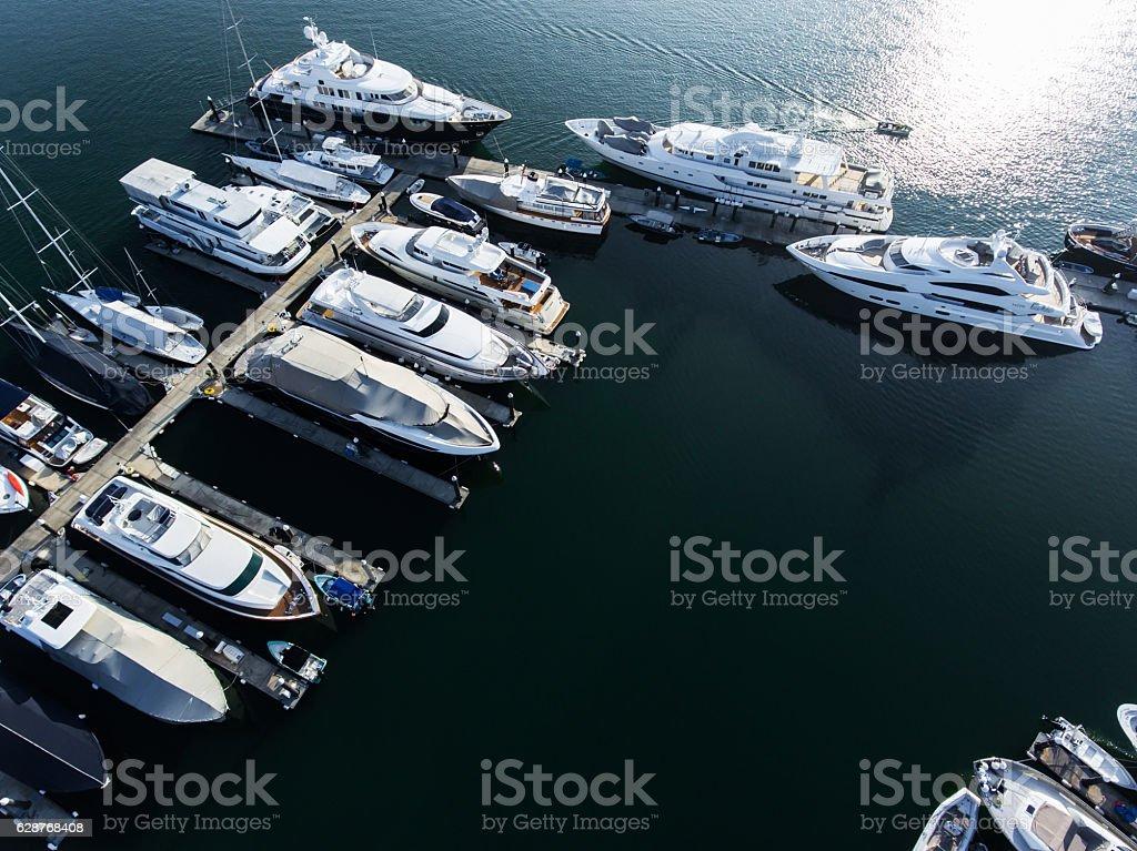 Hong Kong marina aerial view by drone stock photo