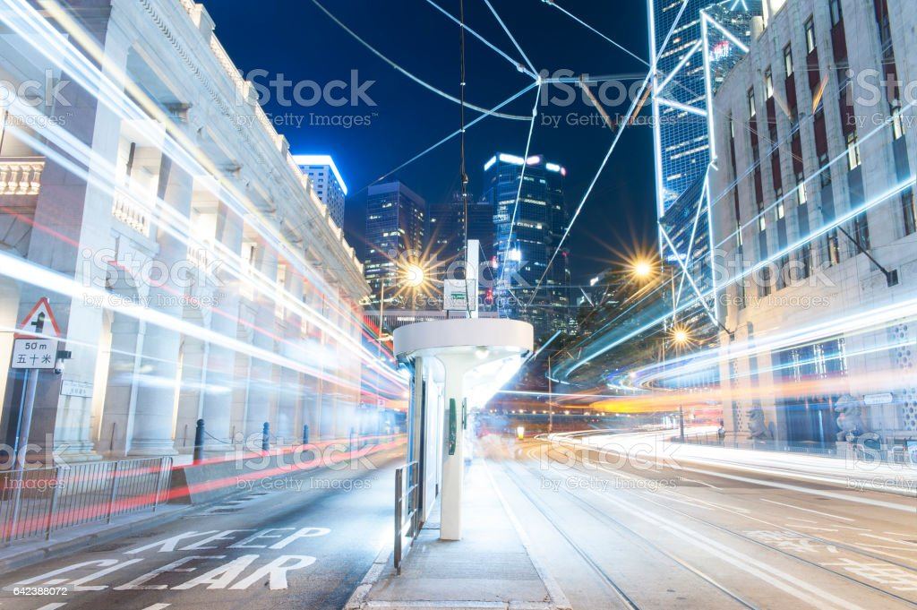 Hong Kong Night Car Trail stock photo
