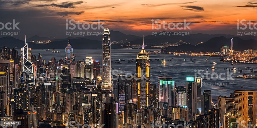 Hong Kong night cityscape stock photo