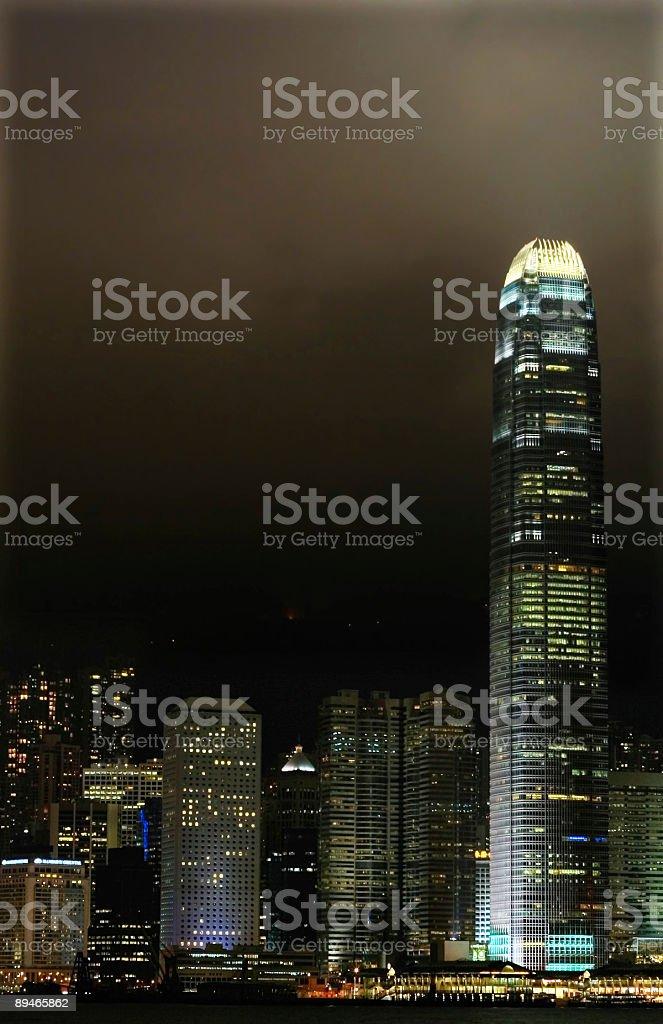 Hong Kong por la noche foto de stock libre de derechos