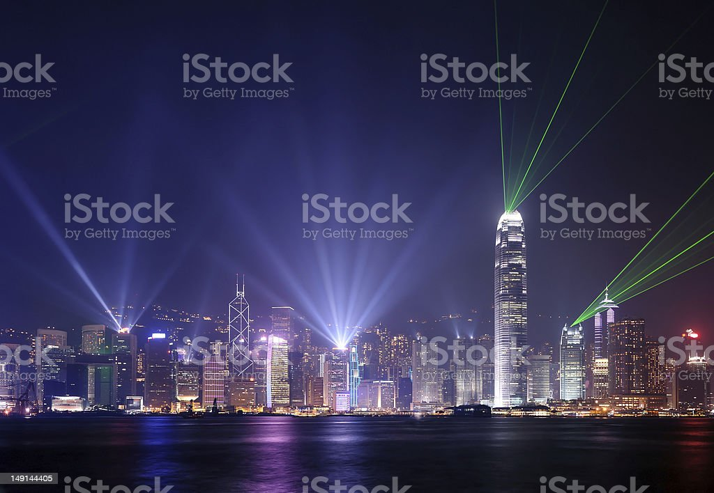 "Hong Kong night scene during ""A Symphony of Lights"" show stock photo"