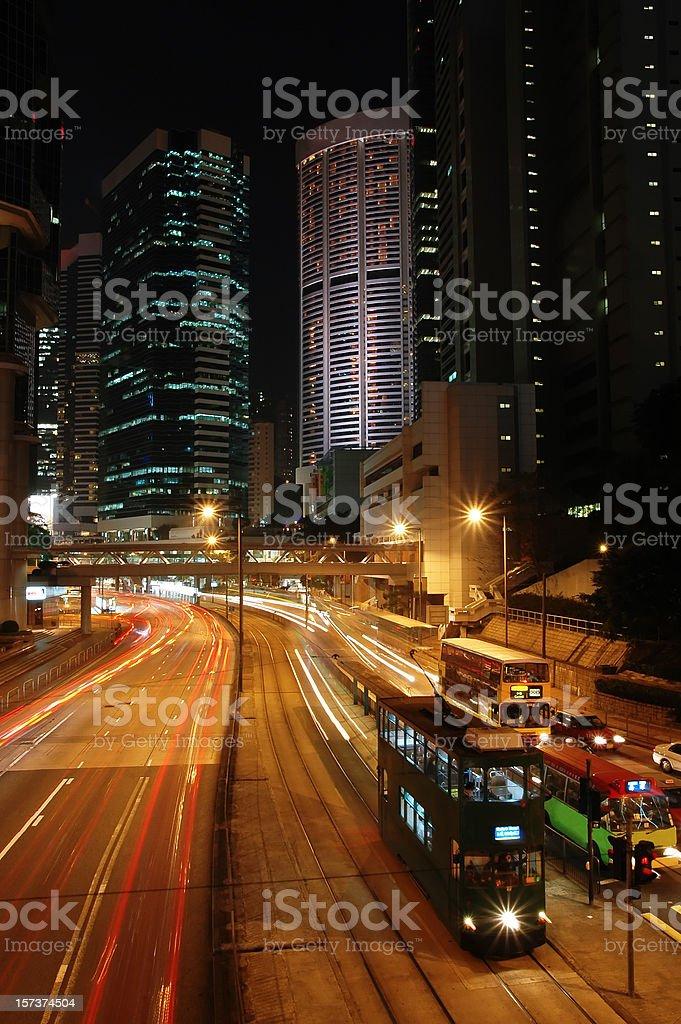 Hong Kong Night Traffic stock photo