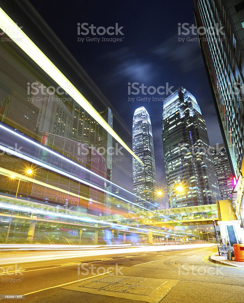 Hong Kong night view with car light royalty-free stock photo