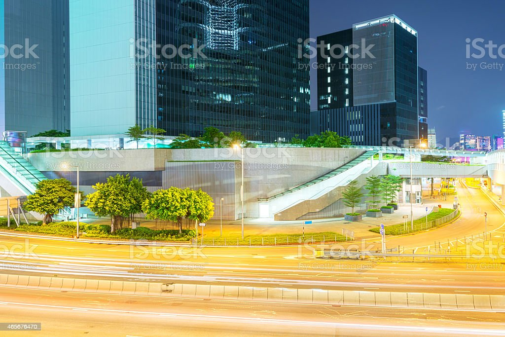 Hong Kong night view with car light stock photo