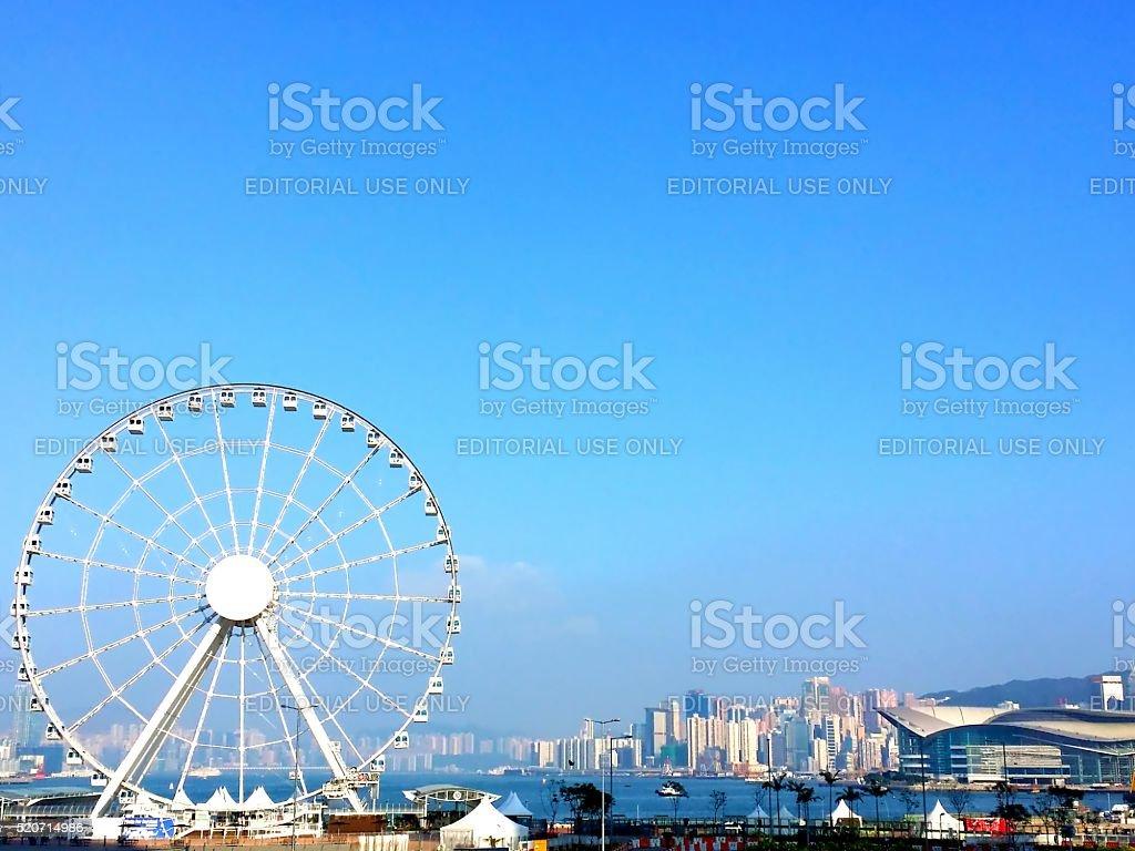 Hong Kong Observation Wheel in Central, Hong Kong stock photo