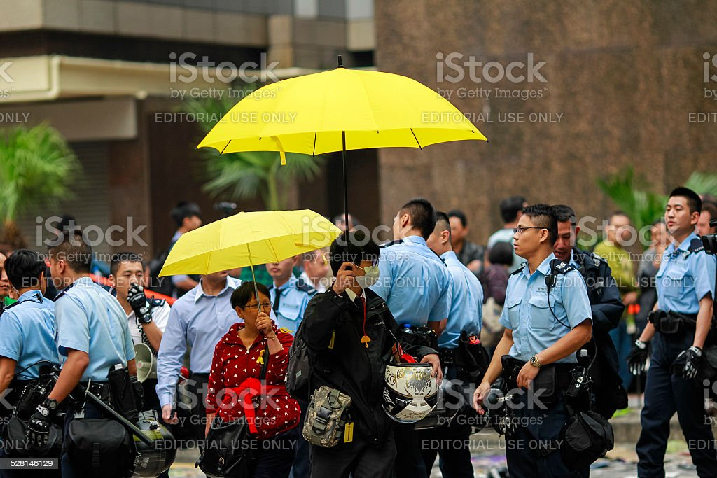 Hong Kong Ocuppy Protest End stock photo