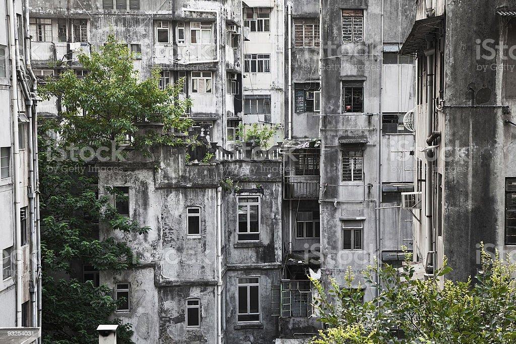 Hong Kong Old área residencial foto de stock libre de derechos
