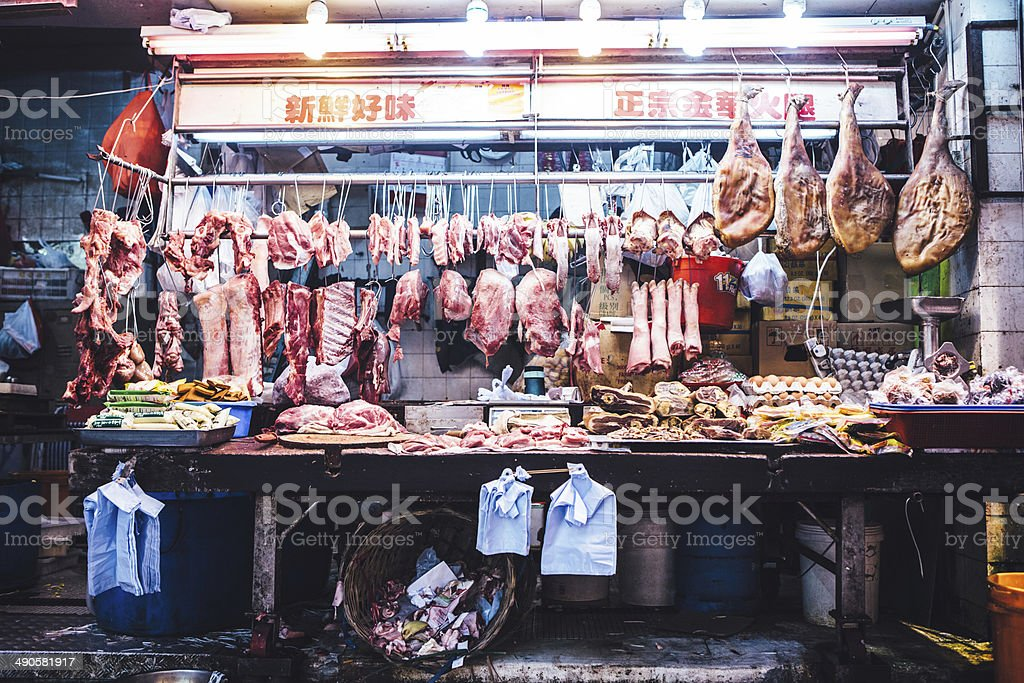 Hong Kong Open Air Meat Market stock photo