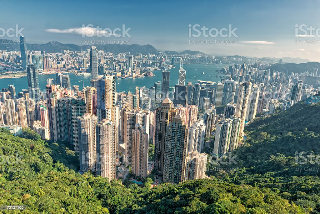Hong Kong Panorama city View from The Peak stock photo
