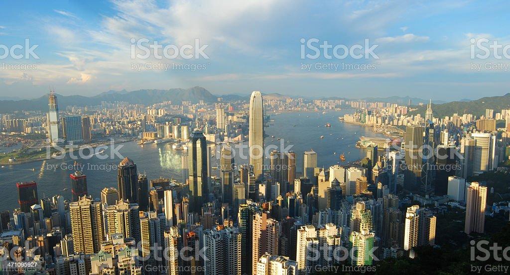 Hong Kong Panoramic: Victoria Bay at Sunset stock photo