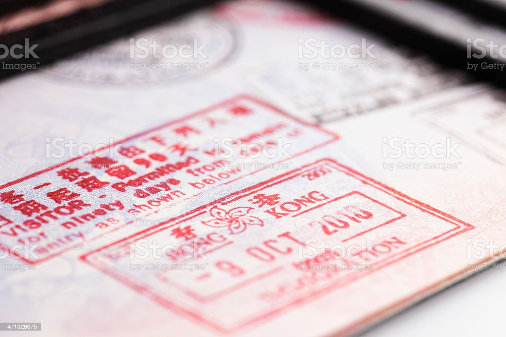 Hong Kong Passport Stamp: Close Up royalty-free stock photo