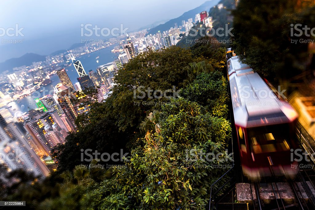 Hong Kong Peak Tram with Victoria Harbour stock photo