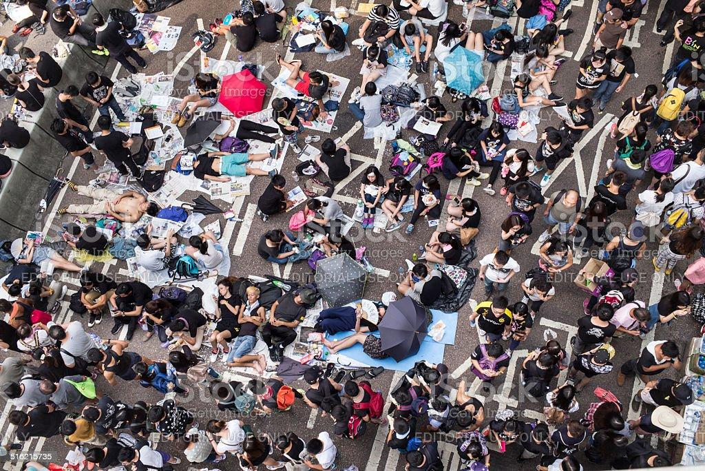 Hong Kong Protesters Block Major Highway in Hong Kong stock photo