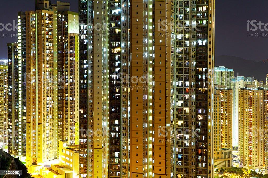 Hong Kong public housing at night royalty-free stock photo