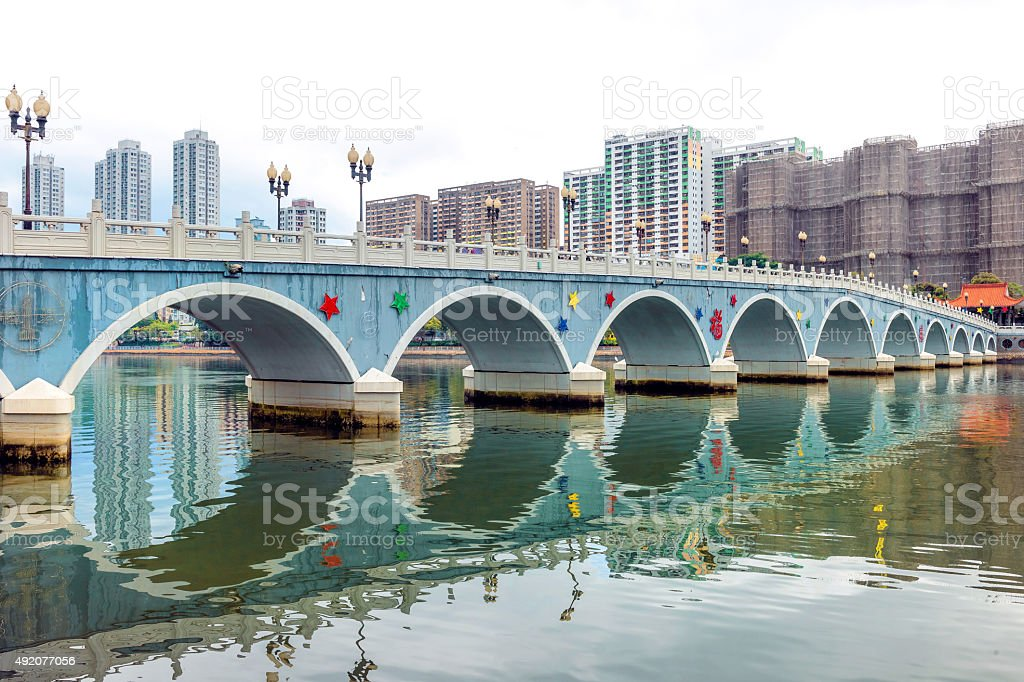 Hong Kong  , Residential district ,arch bridge in Sha Tin ,China stock photo