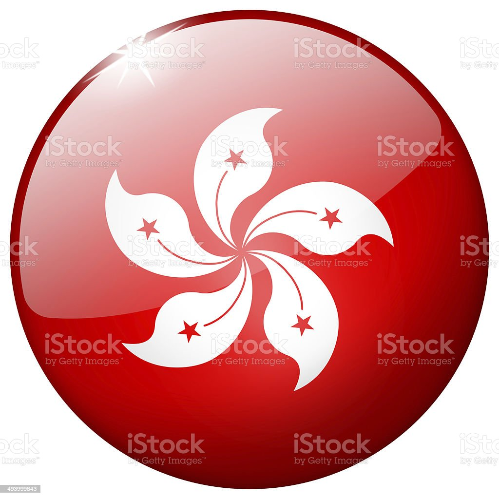 Hong Kong Round Glass Button stock photo