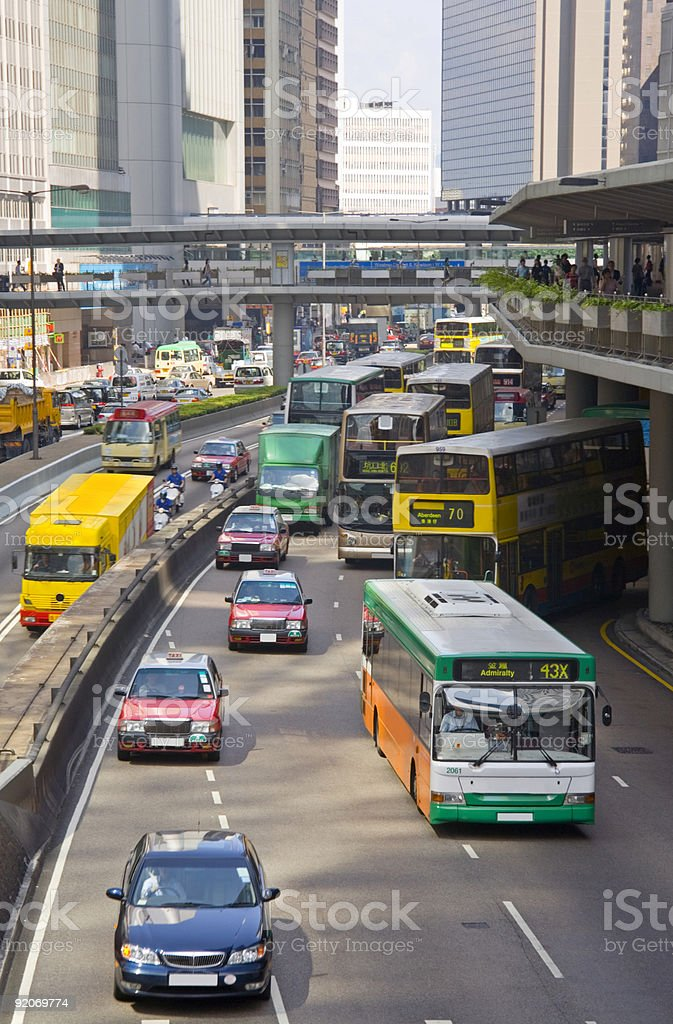 Hong Kong Rush Hour Traffic in Connaught Road royalty-free stock photo