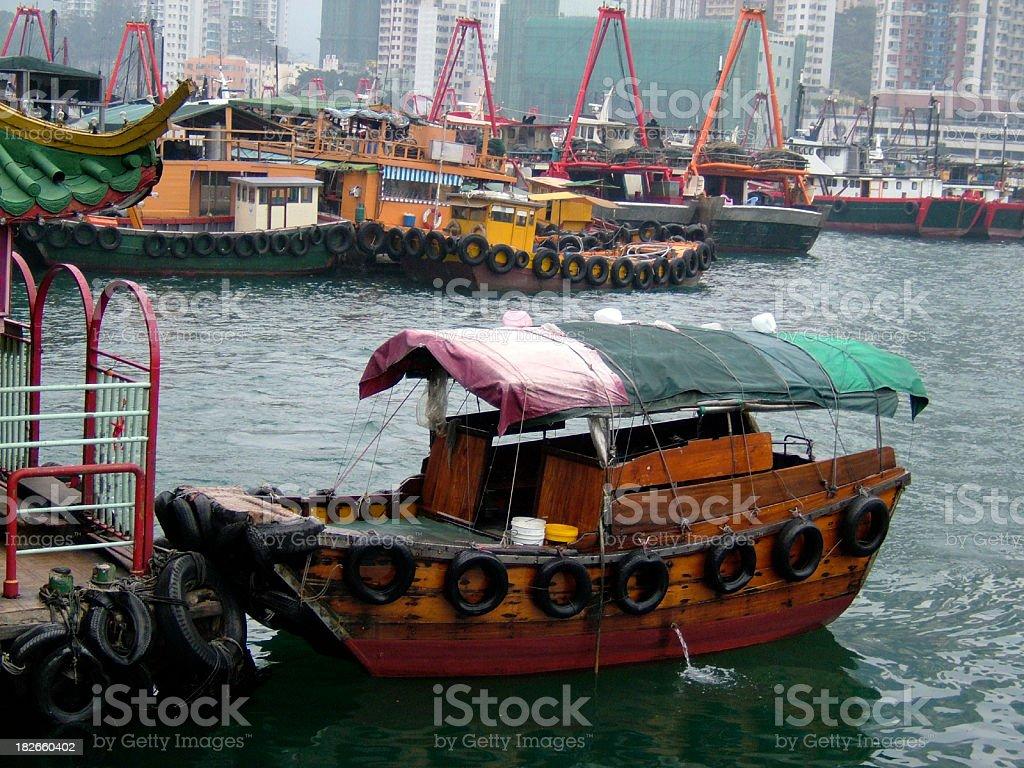 Hong Kong sampan water taxi stock photo