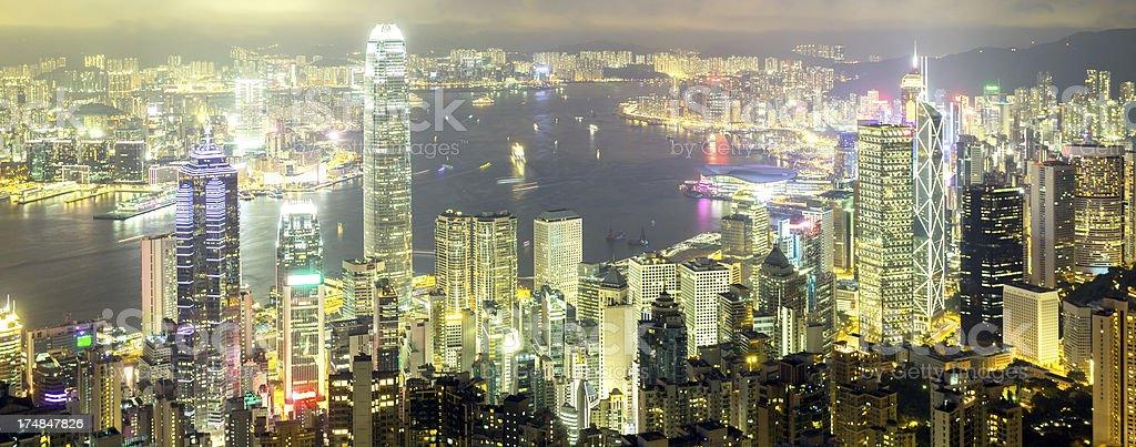 Hong Kong Skyline and Victoria Harbor at Night royalty-free stock photo