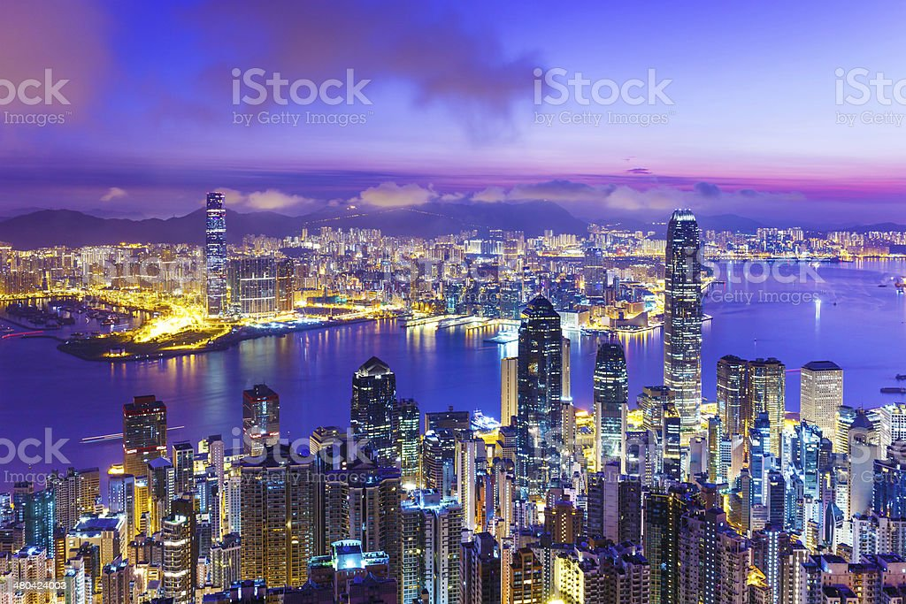 Hong Kong skyline at dawn stock photo