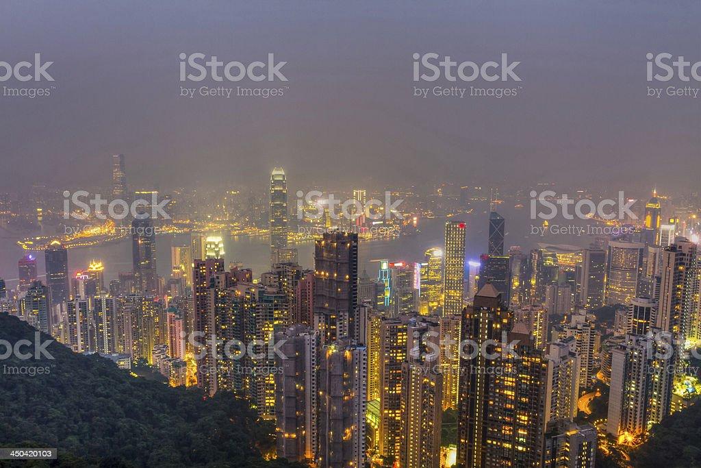 Hong Kong skyline at night royalty-free stock photo