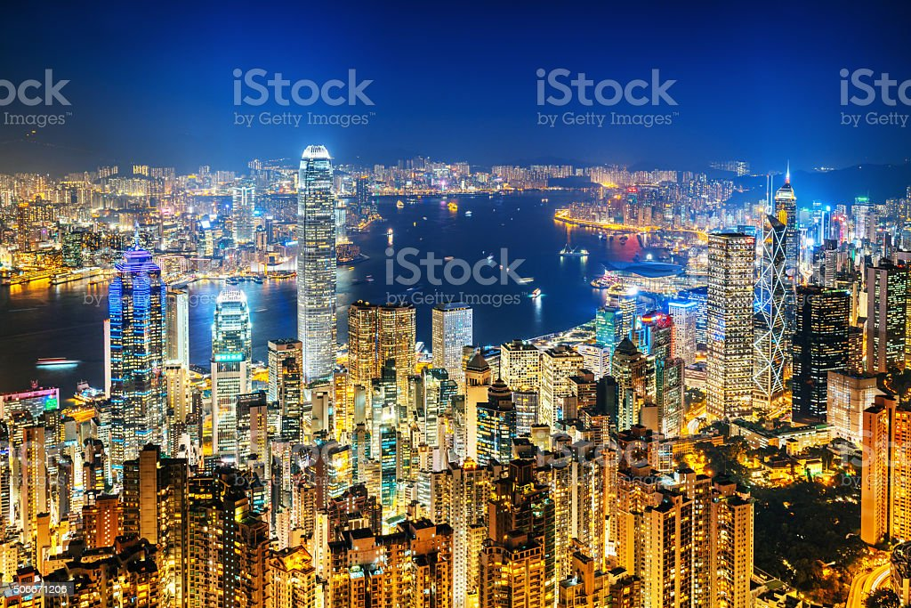 Hong Kong skyline at night stock photo