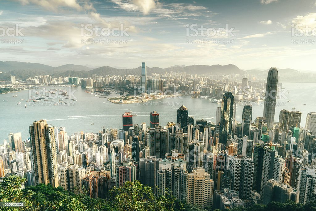 Hong Kong skyline at sunrise stock photo