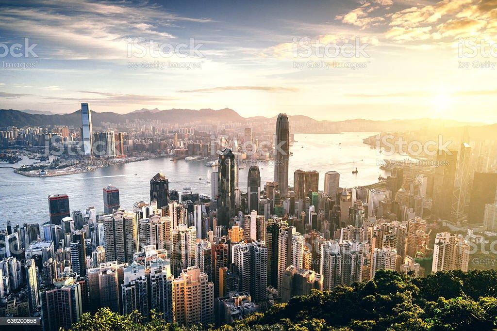 Hong Kong skyline at sunrise stock photo
