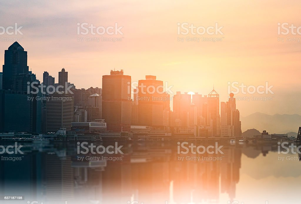 Hong Kong Skyline at sunset stock photo