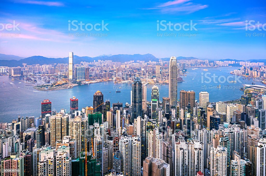 Hong Kong skyline at Twilight stock photo