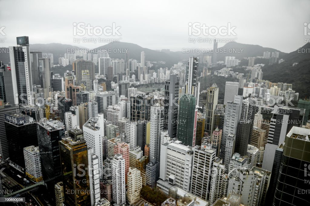 Hong Kong skyline modern office building financial district skyscrapers stock photo