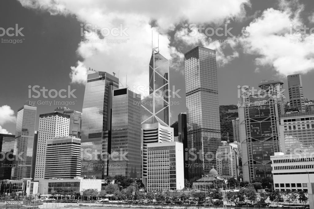 Hong Kong skyline (Black and White) stock photo