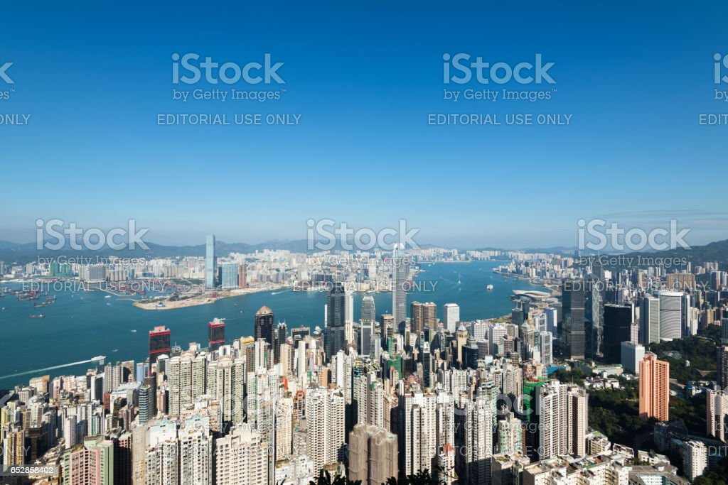 Hong Kong Skyline view from The Victoria Peak. stock photo