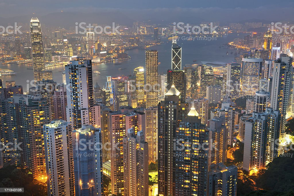 Hong Kong Skyline with Kowloon at Night (XXXL) royalty-free stock photo