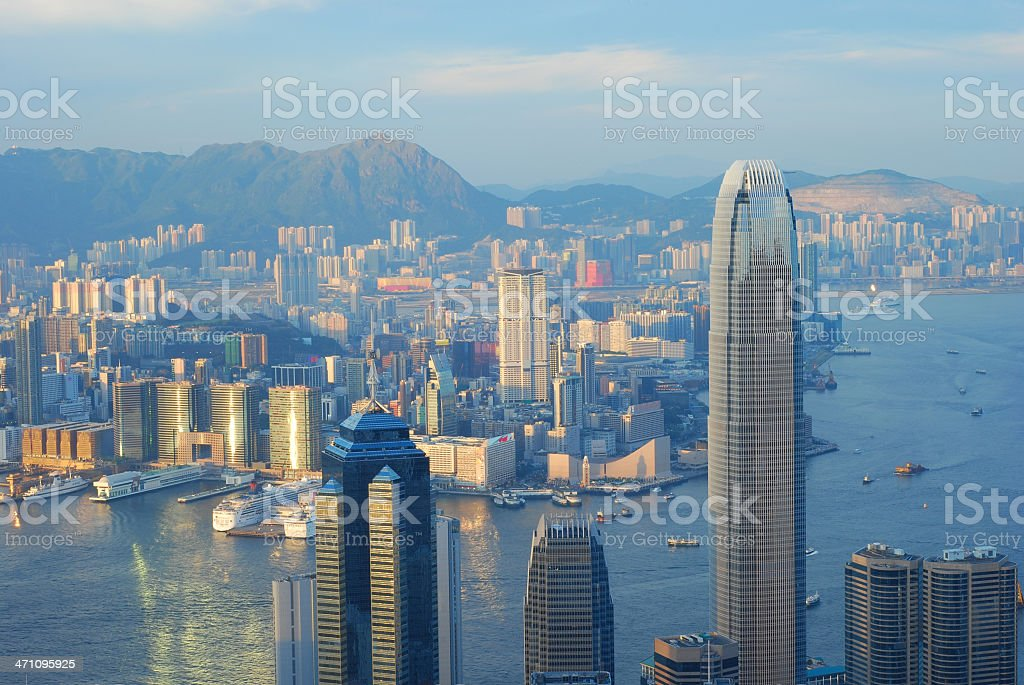 Hong Kong Skyscrapers and Victoria Harbor stock photo