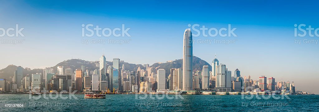 Hong Kong skyscrapers iconic crowded harbour cityscape landmark panorama China stock photo