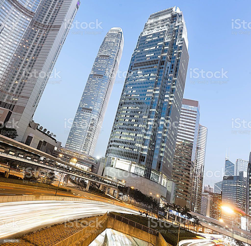 Hong Kong Skyscrapers with Car Trails stock photo