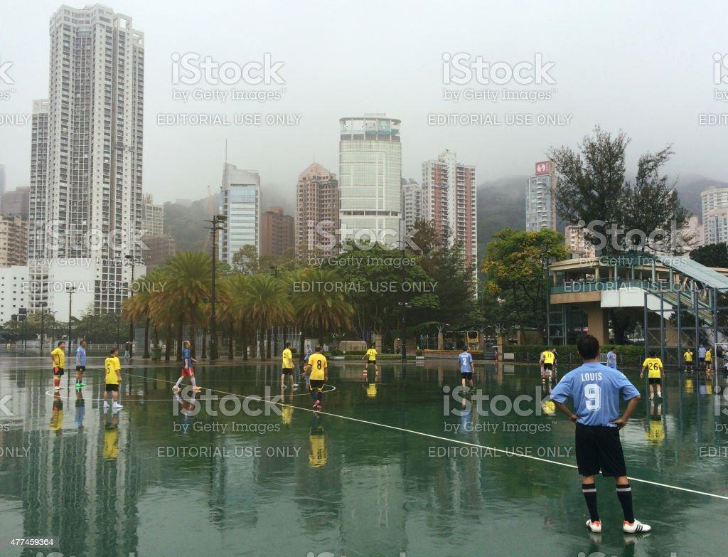 Hong Kong Soccer Game stock photo